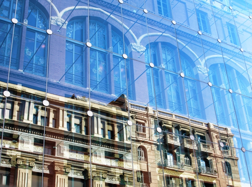 Reflection on the glass facade