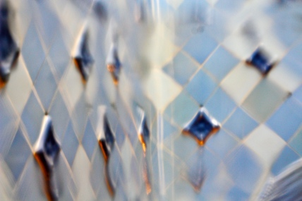 Blue tiles, through a wavy piece of glass...