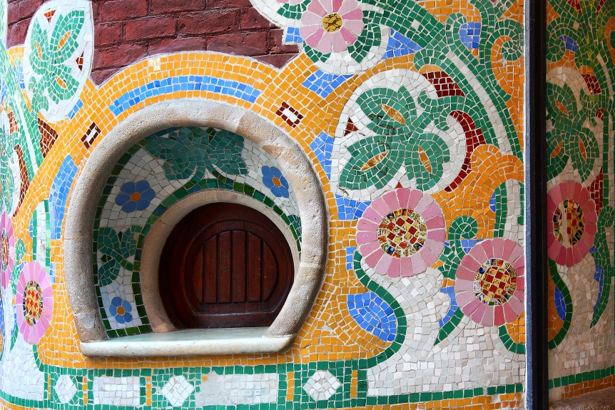 Ticket booth with floral mosaic tiles