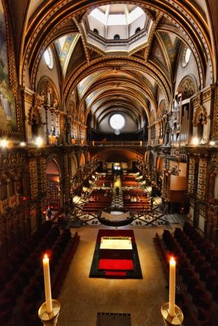 Mare de Déu de Montserrat, looking down into the abbey