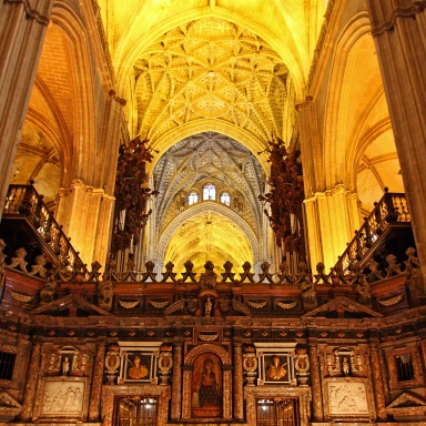 High arches, vaulted ceilings amidst a warm yellow hue - even the interior looks gothic.
