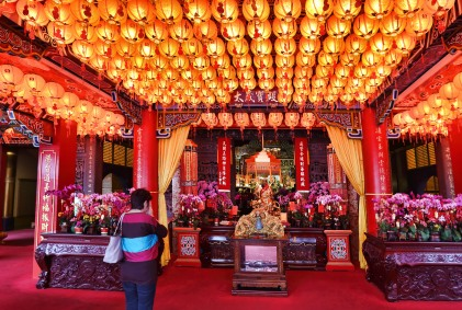 Lanterns in a temple. Taipei.