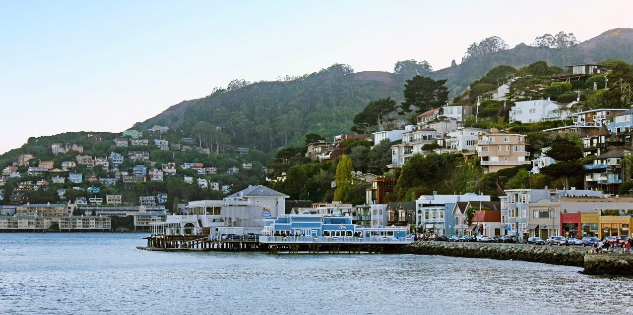 The shoreline Sausalito is lined with expensive restaurants and beautiful houses.