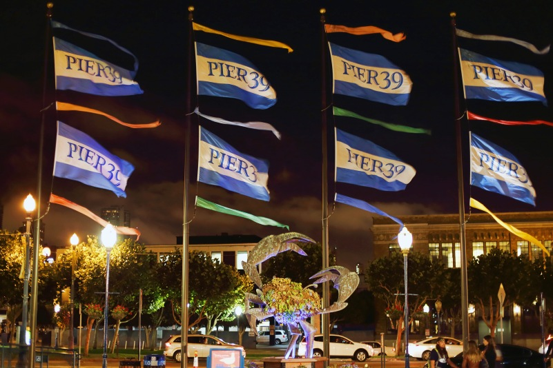 Pier 39 flags.
