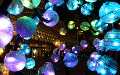 Glowing lamps in an art installation at Marina Bay